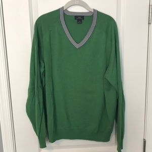"""Brooks Brother """"346"""" Green V-Neck sweater XL"""